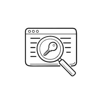 Webseite mit lupe und handgezeichnetem umriss-doodle-schlüsselsymbol. schlüsselwörter suche, seo, konzept zur seitenoptimierung