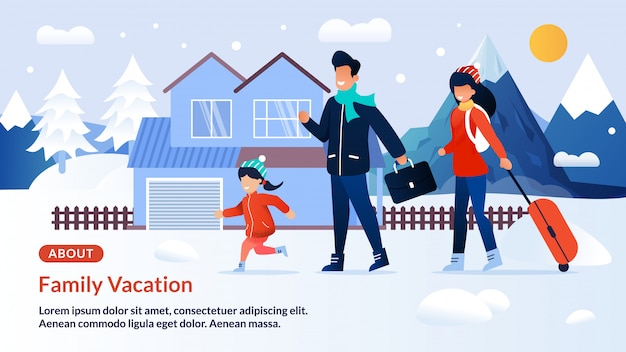Webseiten-fahne, die auf familien-winterurlaub einlädt