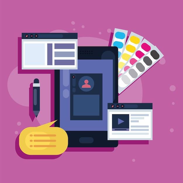 Webseitendesign und smartphone-symbole