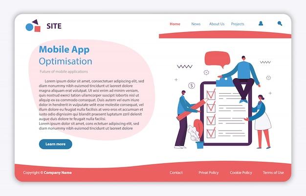 Webseitenkonzeptillustration im flachen und sauberen design. landing page, einseitige anwendung für mobile entwicklung, optimierung, design.