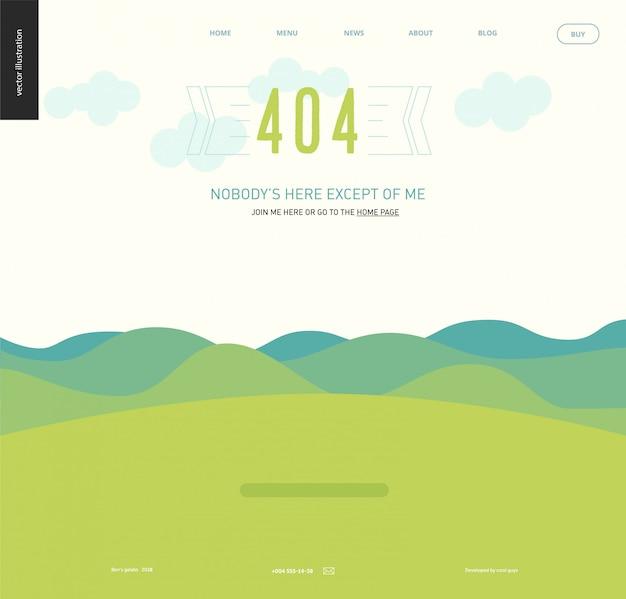 Webseitenschablone mit 404 fehlern - gestalten sie mit grünen bläulichen hügeln und bergen, klarer himmel mit wolken, grüne rasenfläche landschaftlich
