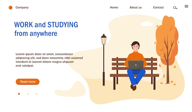 Webseitenvorlage mit mann, der mit laptop im park arbeitet oder studiert. herbst stadtpark hintergrund. freiberufliche, fernarbeit und studienkonzeptillustration.