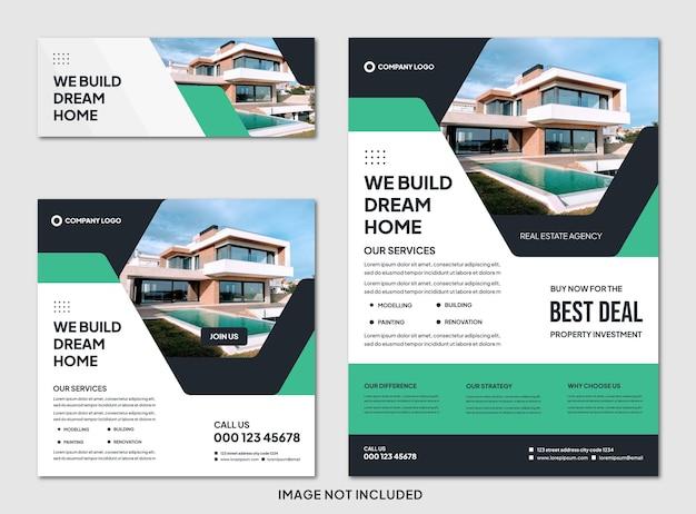 Webset mit bearbeitbarer moderner immobilienbroschüre und instagram-post-vorlage