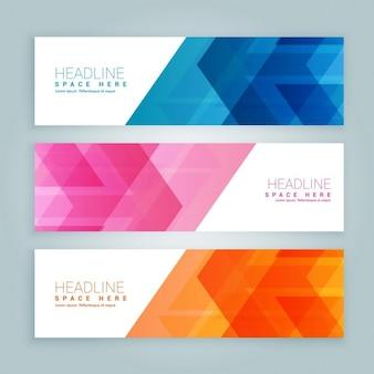Website-banner in drei verschiedenen farben