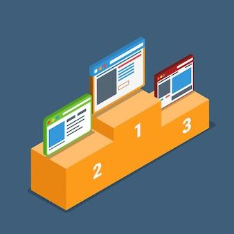 Website beste top-bewertung bewertung podium sockel konzept.