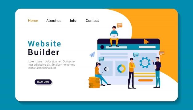 Website builder landing page vorlage, flaches design