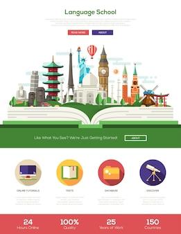 Website der sprachschule für flaches design