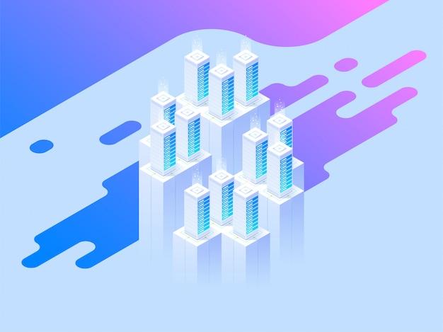 Website design. big data center und cloud storage-technologie.