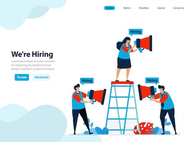 Website-design für einstellungen und mitarbeiterrekrutierung.