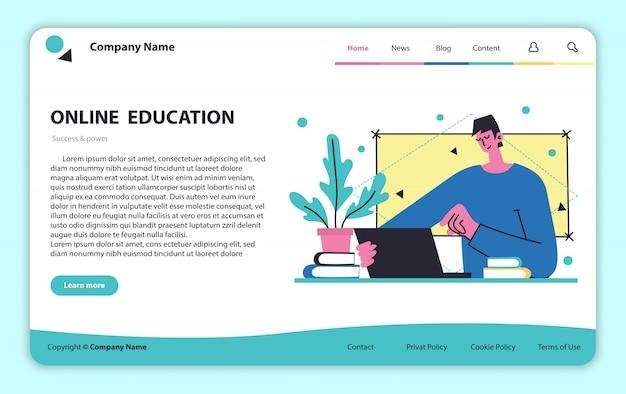 Website-design für fernunterricht. fernlernkonzept. webseitenvorlage, symboldesign.