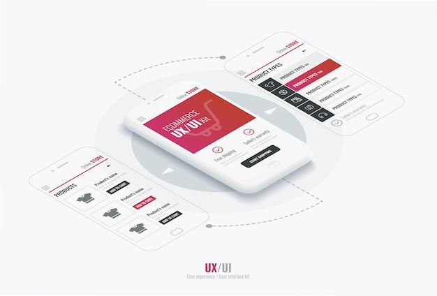 Website-drahtmodell für mobile apps mit runden pfeilen