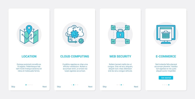 Website-e-commerce-internet-cloud-service ux ui onboarding mobiler app-seitenbildschirm