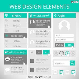 Website-elemente in grünen und grauen farben eingestellt