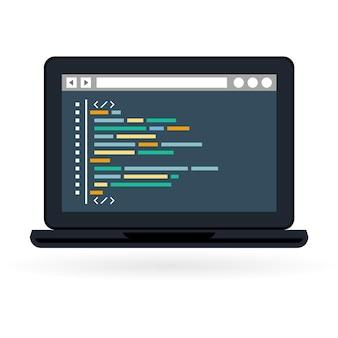 Website-entwicklung auf laptop-bildschirm Premium Vektoren