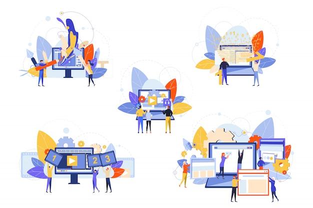 Website-entwicklung, softwaretests, grafikdesign-set-konzept