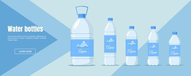 Website für den verkauf oder die lieferung von wasser. werbebanner für wasser. flacher designstil der logistischen geschäftsbranche.