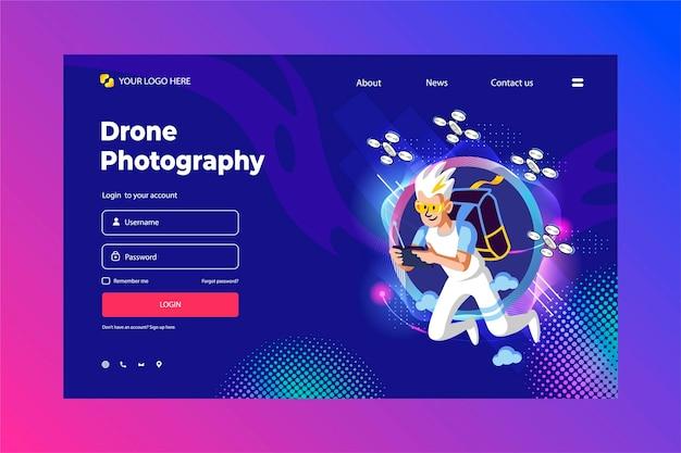 Website für drohnenfotografie mit weißem charakter und den drohnen.