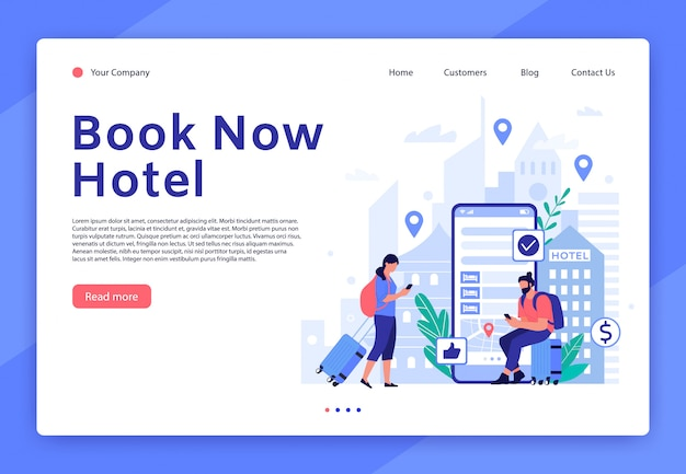 Website für hotelbuchungen. mobile app für touristen und reisende, landingpage-vorlage für das digitale servicekonzept der hotelzimmerreservierung. wohnungssuchwerkzeug. personen mit gepäckillustration