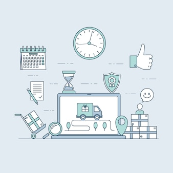 Website für schnelle lieferung oder vorlage für mobile anwendungen. e-commerce und online-bestellkonzept.