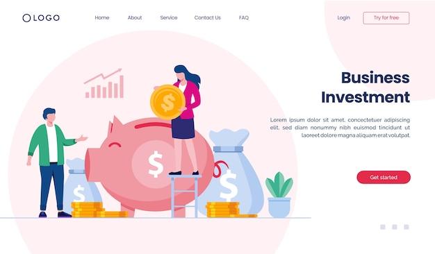 Website für zielseiten für unternehmensinvestitionen