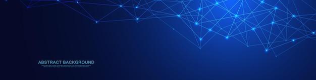 Website-header oder banner-design mit abstraktem geometrischen hintergrund und verbindungspunkten und linien. globale netzwerkverbindung. digitale technologie mit plexushintergrund und platz für ihren text.