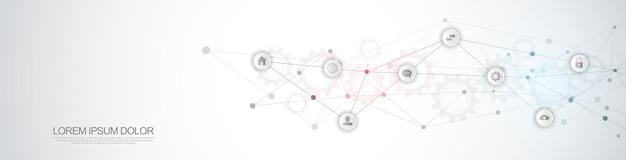 Website-header oder banner-design mit abstraktem technischem hintergrund und verbindenden punkten und linien. digitaltechnik und kommunikationskonzept mit flachen symbolen.