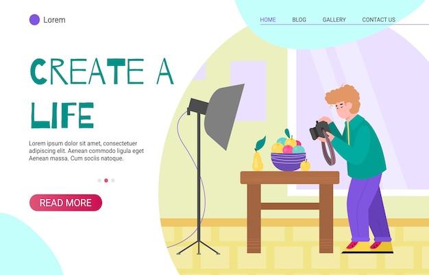 Website-homepage für kreative menschen mit mann fotograf zeichentrickfigur, flache karikatur. amateur kunst aktivitäten und kreative hobbys seite.