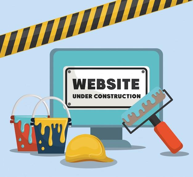 Website im aufbau mit desktop-computer