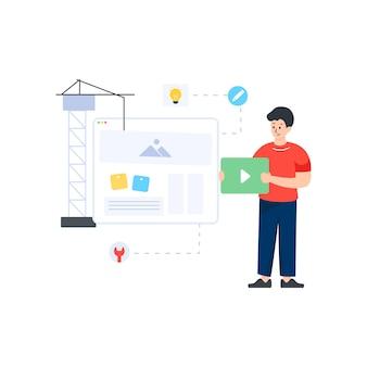 Website im bau im bearbeitbaren vektordesign der flachen illustration