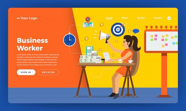 Website-konzept arbeitszeitarbeiter im büro. illustration.