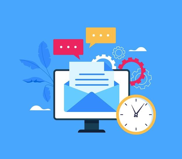 Website-konzept des mail-service-netzwerks. karikatur