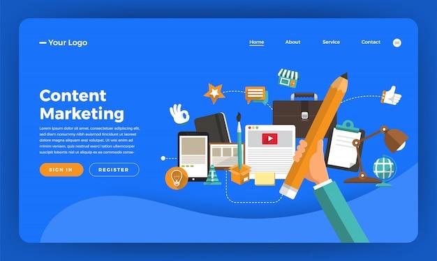Website-konzept digitales marketing. inhaltsvermarktung. illustration.