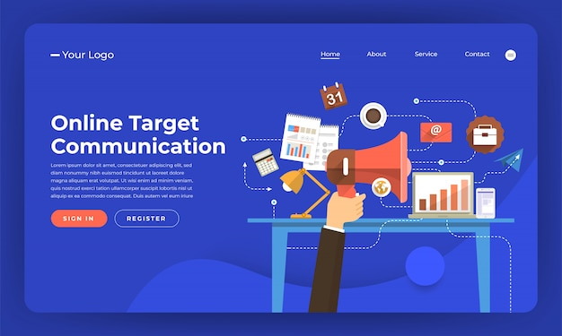 Website-konzept digitales marketing. online-zielkommunikation. illustration.