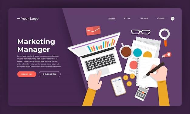 Website-konzept marketing manager. illustration.