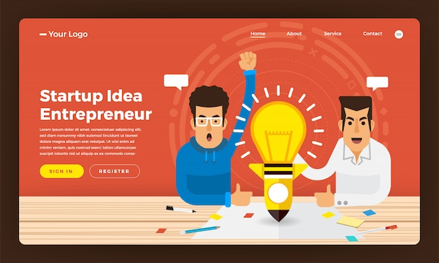 Website-konzept startup-idee geschäft vom unternehmer präsentiert. illustration.