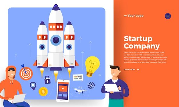 Website-konzept stratup rakete aufstieg vom computer. illustration.