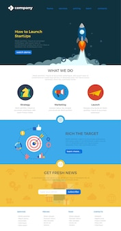 Website-landing-page-design-vorlage flacher stil.