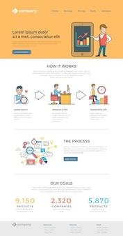 Website-landing-page-design-vorlage linear flat style.