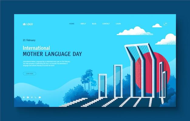 Website-landing-page-konzept für shaheed minar, dhaka, bangladesch. illustration von shaheed minar, internationaler tag der muttersprache, 21. februar. moderne flache designillustration für website.