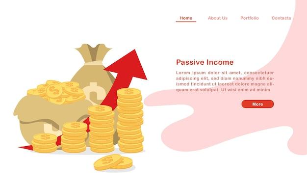 Website landing page template cartoon stapel von münzen und geldsäcken