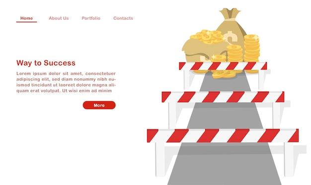 Website landing page template cartoon weg zum erfolg hürde auf dem weg zum wohlstand.
