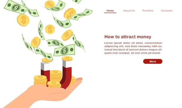 Website landing page template cartoon, wie man geld konzept finanzwährung rechnung goldene münze und magnet anziehen