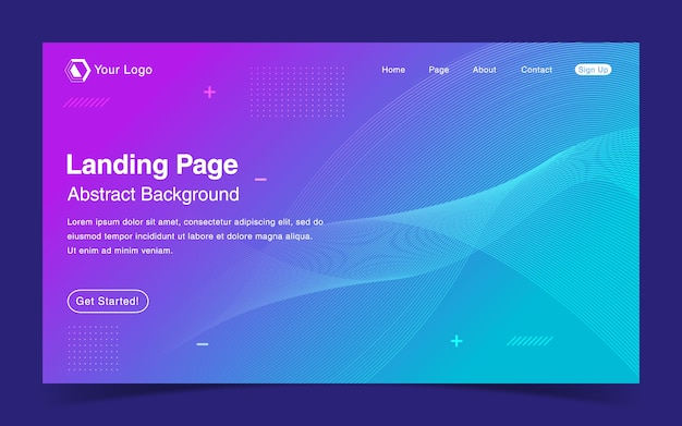 Website landing page template mit blauem hintergrund mit farbverlauf
