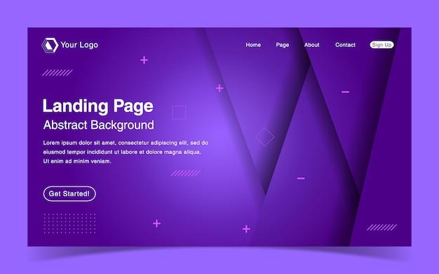 Website landing page template mit geometrischen lila hintergrund