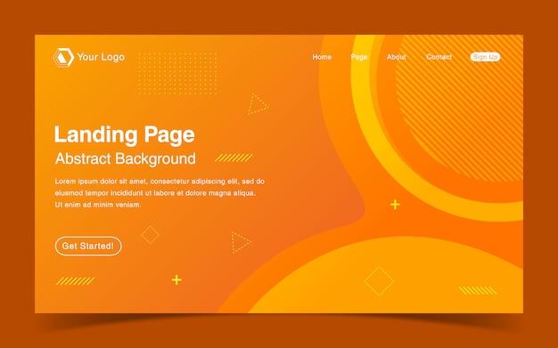 Website landing page template mit orange hintergrund mit farbverlauf
