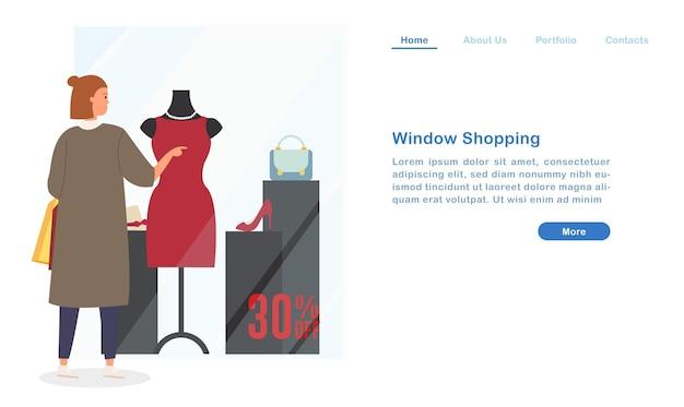Website landing page vorlage cartoon frau schaufensterbummel mit blick auf schöne kleid kleid kleidung high heel tasche