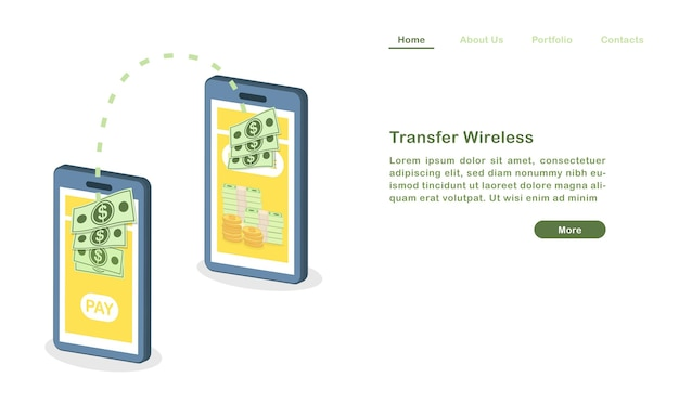 Website landing page vorlage cartoon transfer geld drahtlos mit mobiltelefonen