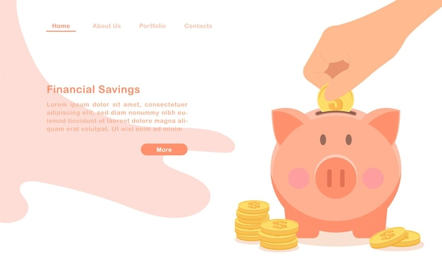 Website landing page vorlage finanzielle einsparungen cartoon geld schwein und stapel von münzen