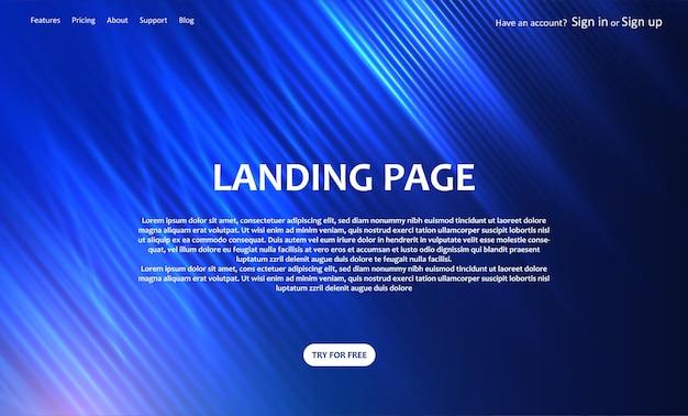 Website-landing-page-vorlage mit einem abstrakten unschärfe-design