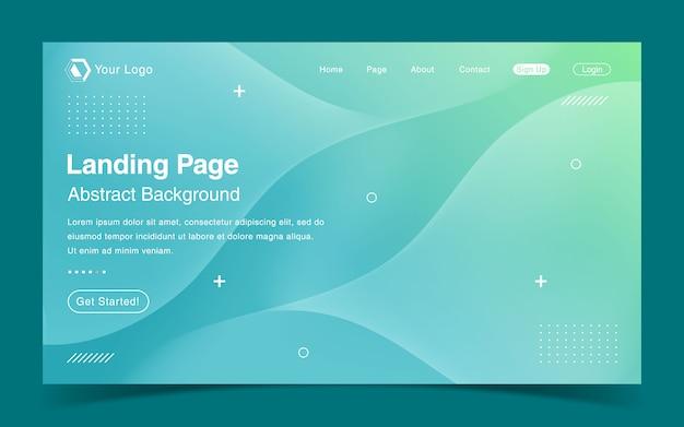 Website-landing page-vorlage mit grünem farbverlauf